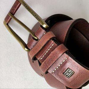 "Tommy Hilfiger Brown Leather Belt Brass Buckle 38"""